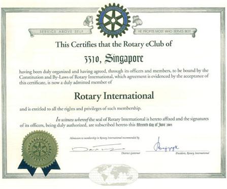 E-Club 3310 Charter Certificate